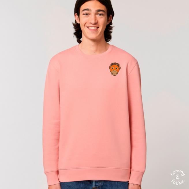 tommy and lottie adults organic cotton save the orangutan sweatshirt - canyon pink
