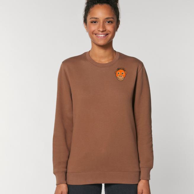 tommy and lottie adults organic cotton save the orangutan sweatshirt - caramel