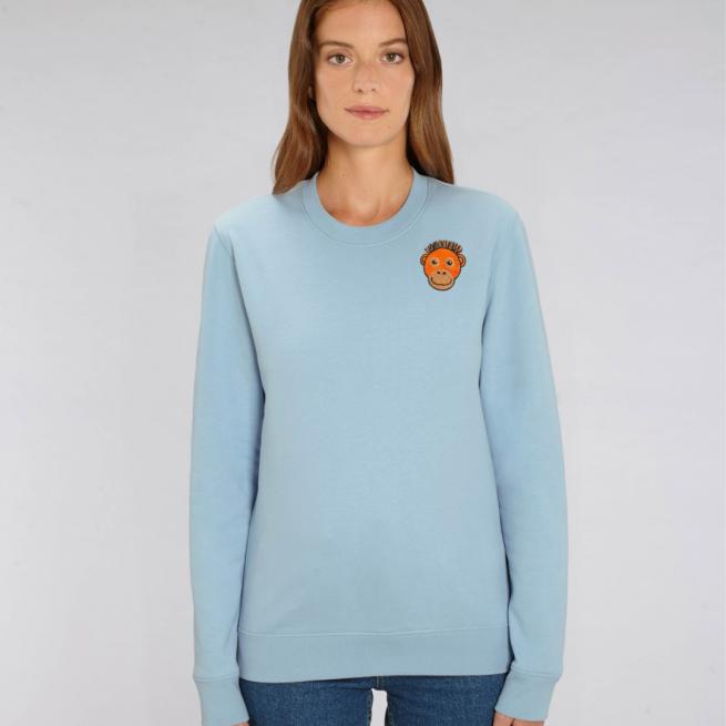 tommy and lottie adults organic cotton save the orangutan sweatshirt - pale blue