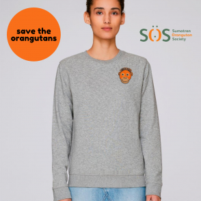save the orangutan organic cotton adults sweatshirt by tommy & lottie