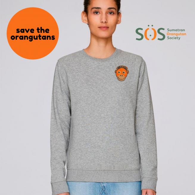 save the orangutan organic cotton adults sweatshirt by tommy & lottie