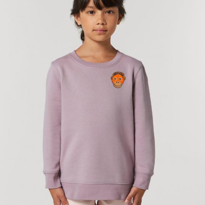 tommy & lottie childrens organic cotton orangutan sweatshirt - lilac petal