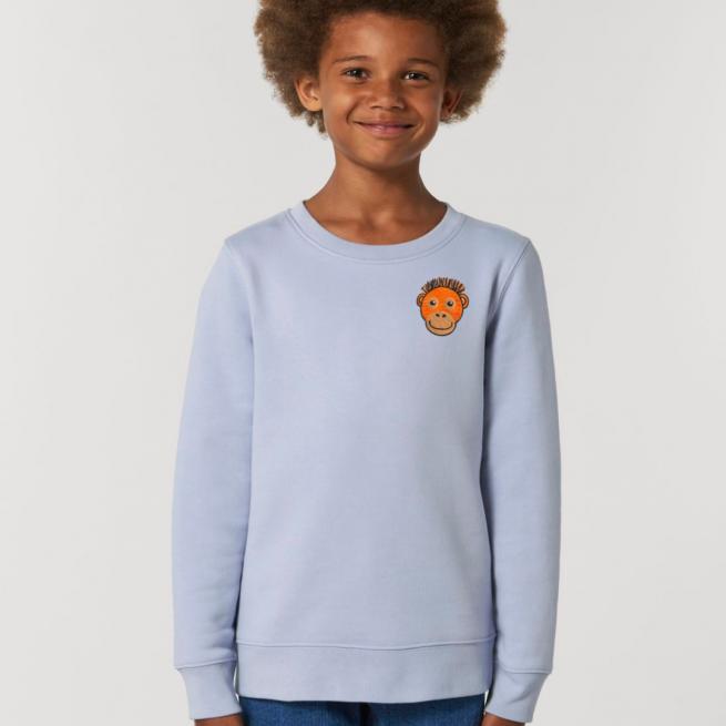 tommy & lottie childrens organic cotton orangutan sweatshirt - serene blue