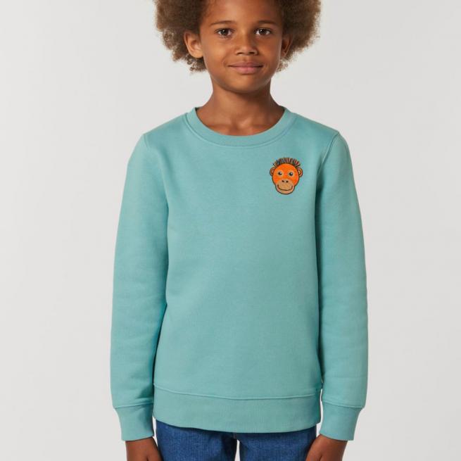 tommy & lottie childrens organic cotton orangutan sweatshirt - teal monstera