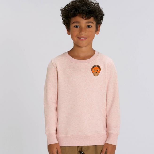 tommy & lottie childrens organic orangutan sweatshirt - pink cream marl