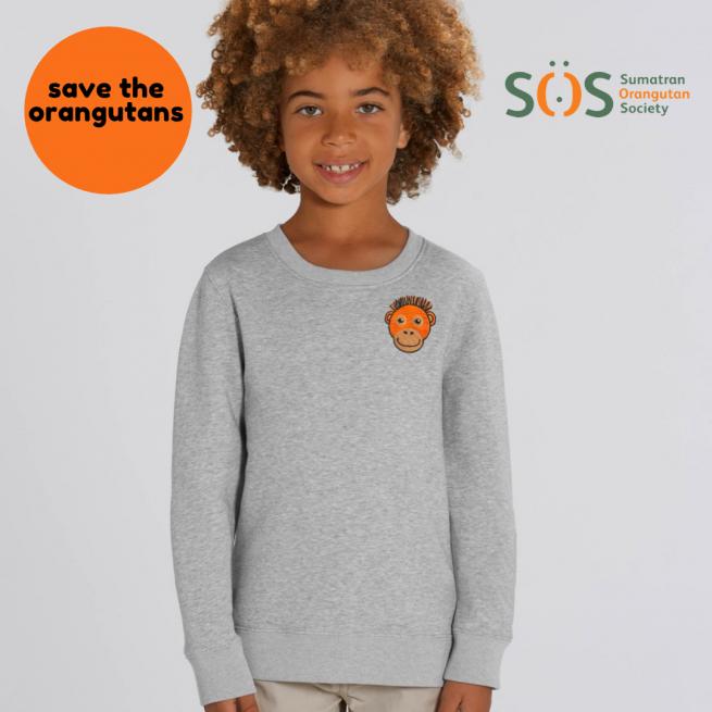 tommy & lottie childrens save the orangutans organic cotton sweatshirt - black