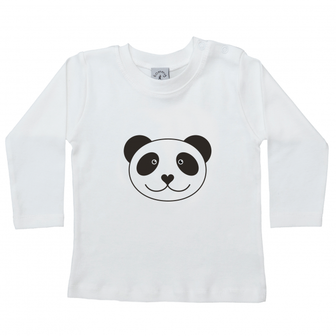 tommy and lottie white long sleeve top with panda design