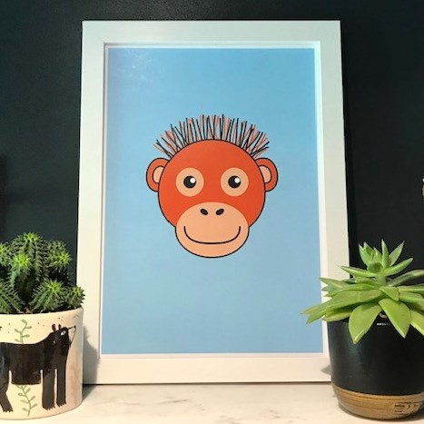 Tommy Lottie orangutan light blue A4 print