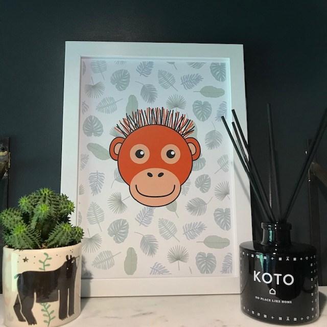 Orangutan leaf print - A4