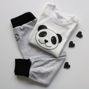 panda baby t shirt and grey eco joggers gift set