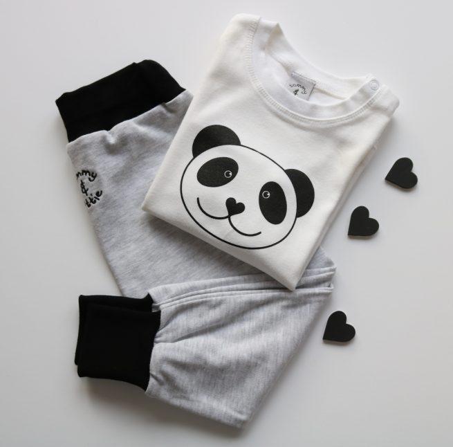 panda baby t shirt and grey eco joggers gift set