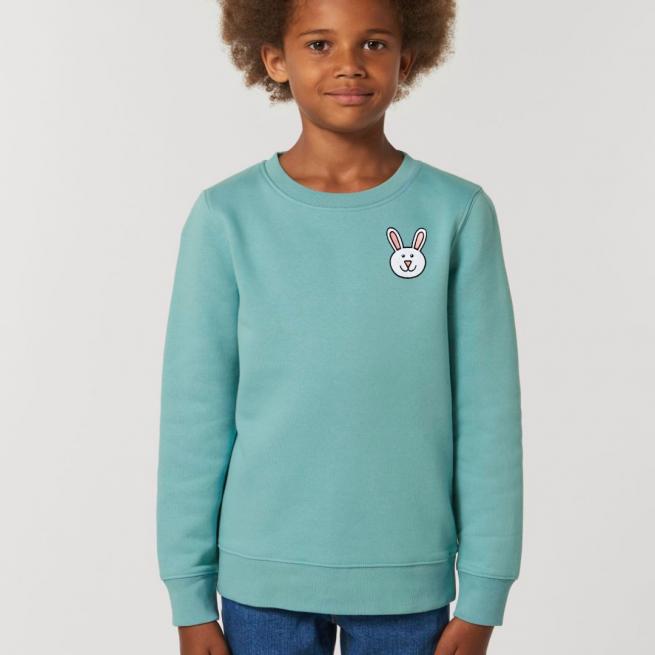 tommy & lottie childrens organic cotton bunny sweatshirt - teal monstera