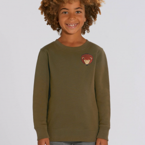 tommy & lottie childrens organic cotton hedgehog sweatshirt - khaki
