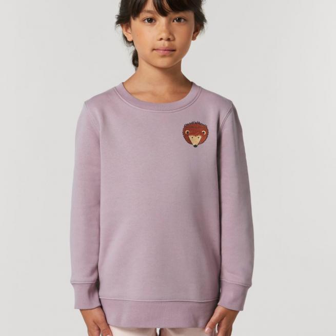 tommy & lottie childrens organic cotton hedgehog sweatshirt - lilac petal