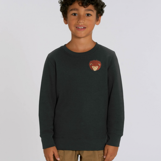 tommy and lottie childrens organic hedgehog sweatshirt - black