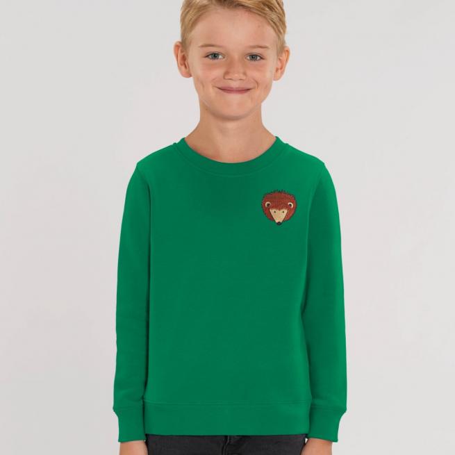 tommy & lottie childrens organic hedgehog sweatshirt - green