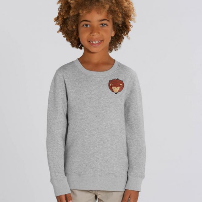 tommy & lottie childrens organic hedgehog sweatshirt - grey marl