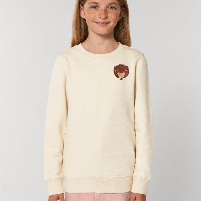 tommy and lottie childrens organic hedgehog sweatshirt - natural