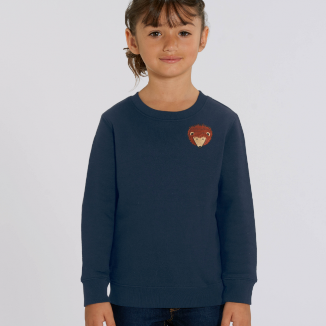 tommy and lottie childrens organic hedgehog sweatshirt - navy