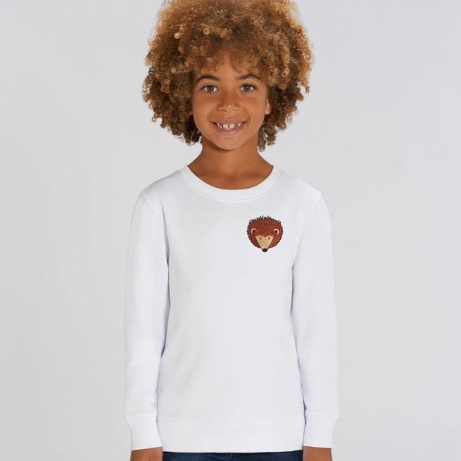 tommy and lottie childrens organic hedgehog sweatshirt - white
