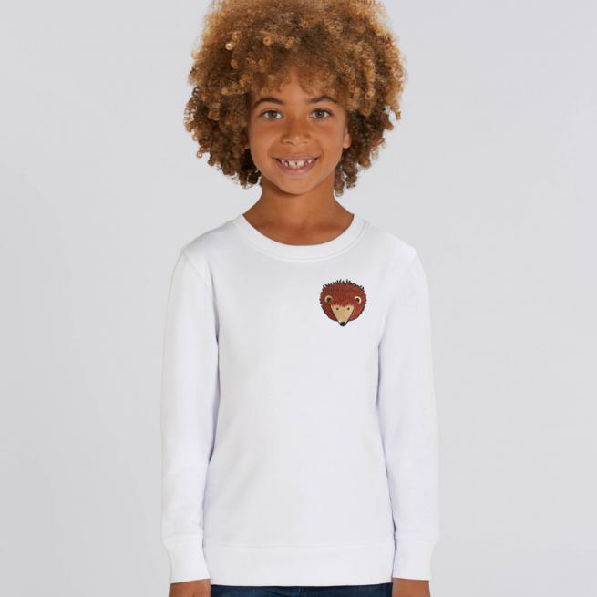 tommy & lottie childrens organic hedgehog sweatshirt - white