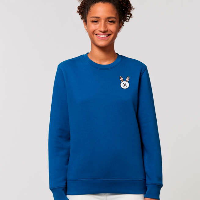 tommy and lottie adults organic bunny sweatshirt - blue