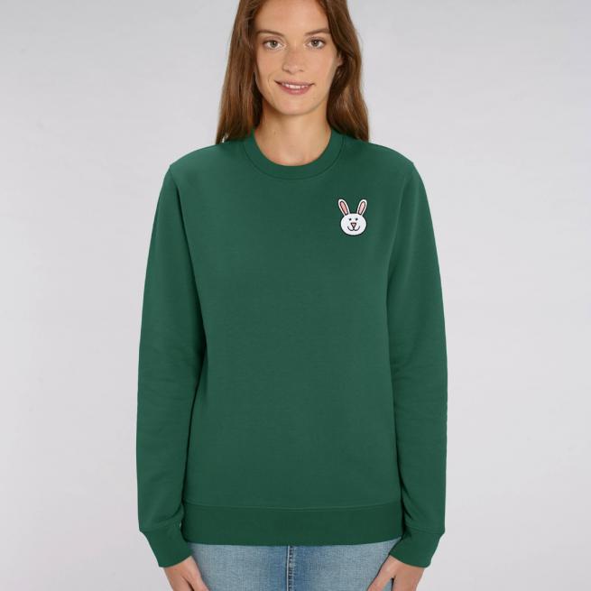 tommy and lottie adults organic bunny sweatshirt - bottle green