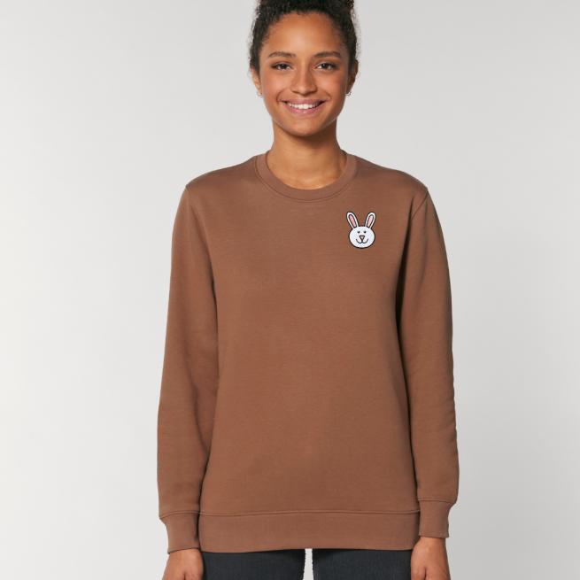 tommy and lottie adults organic bunny sweatshirt - caramel