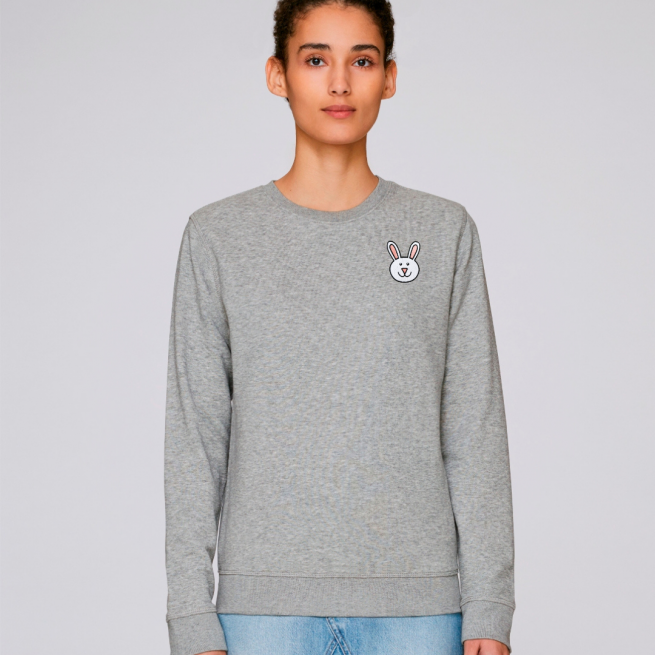 tommy and lottie adults organic bunny sweatshirt - grey marl