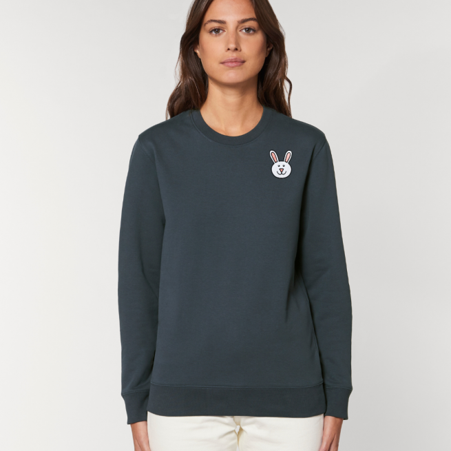 tommy and lottie adults organic bunny sweatshirt - ink grey