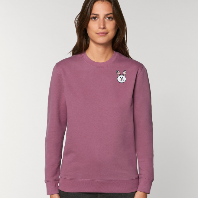 tommy and lottie adults organic bunny sweatshirt - mauve