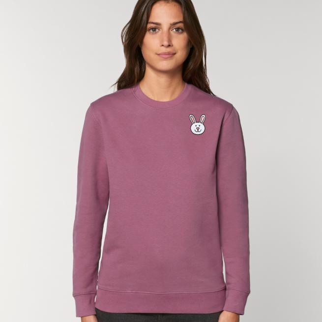 tommy and lottie adults organic bunny sweatshirt - mauve