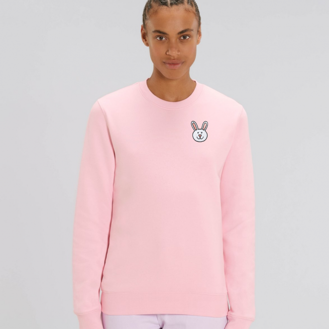 tommy and lottie adults organic bunny sweatshirt - pale pink
