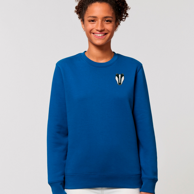 tommy and lottie adults organic cotton badger sweatshirt - blue