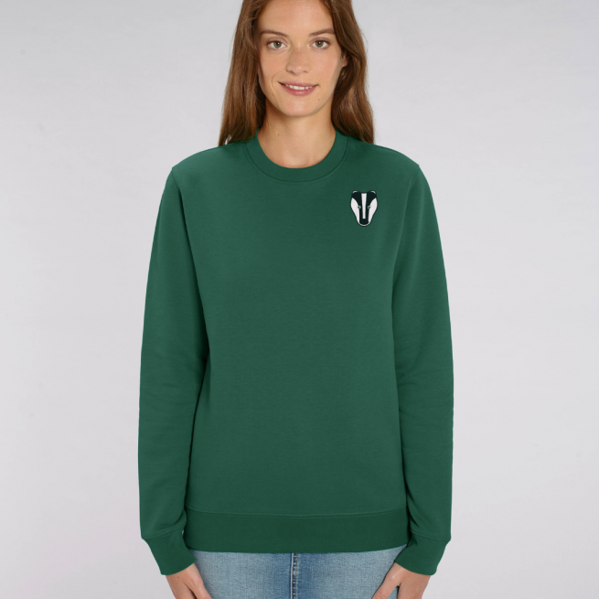 tommy and lottie adults organic cotton badger sweatshirt - bottle green