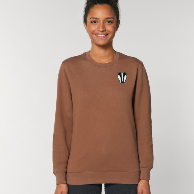 tommy and lottie adults organic cotton badger sweatshirt - caramel