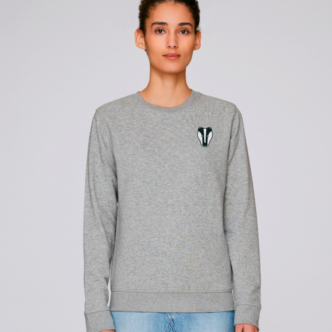 tommy and lottie adults organic cotton badger sweatshirt - grey marl