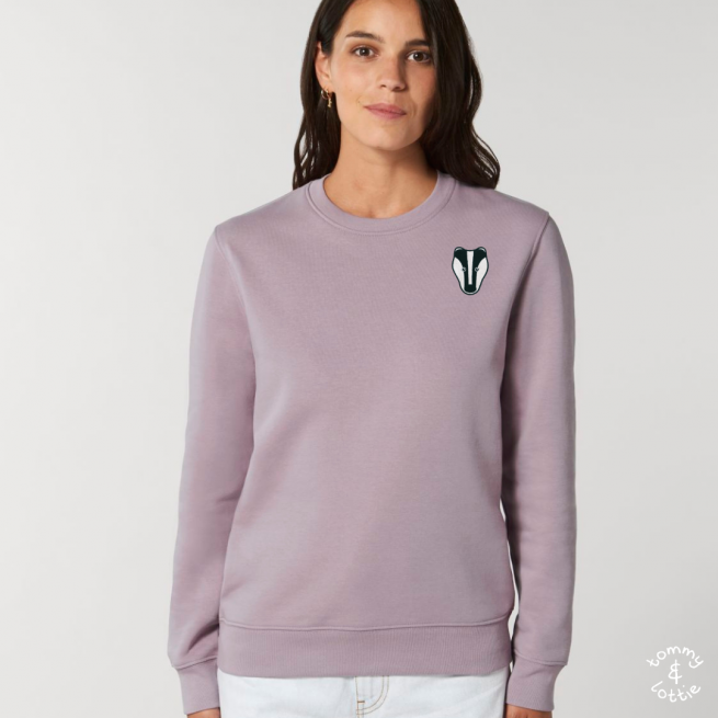 tommy and lottie adults organic cotton badger sweatshirt - lilac petal
