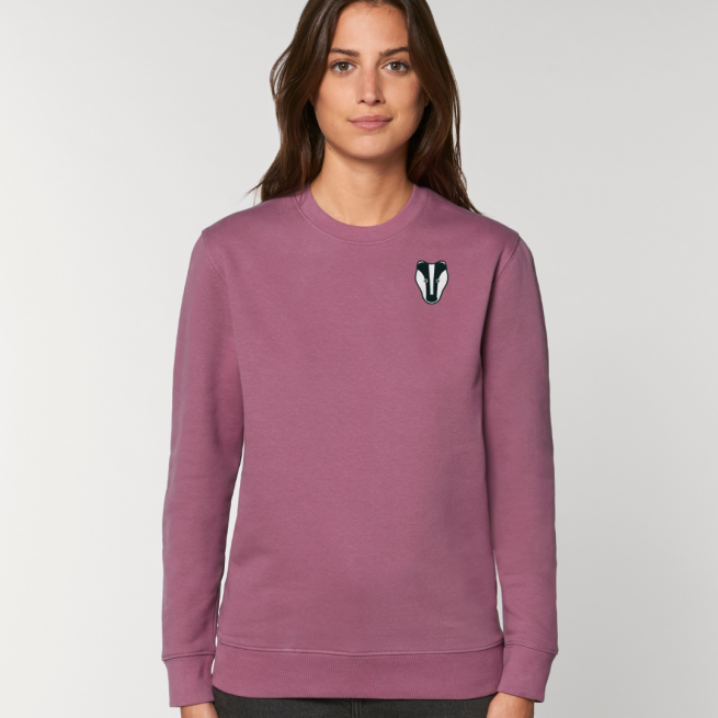 tommy and lottie adults organic cotton badger sweatshirt - mauve