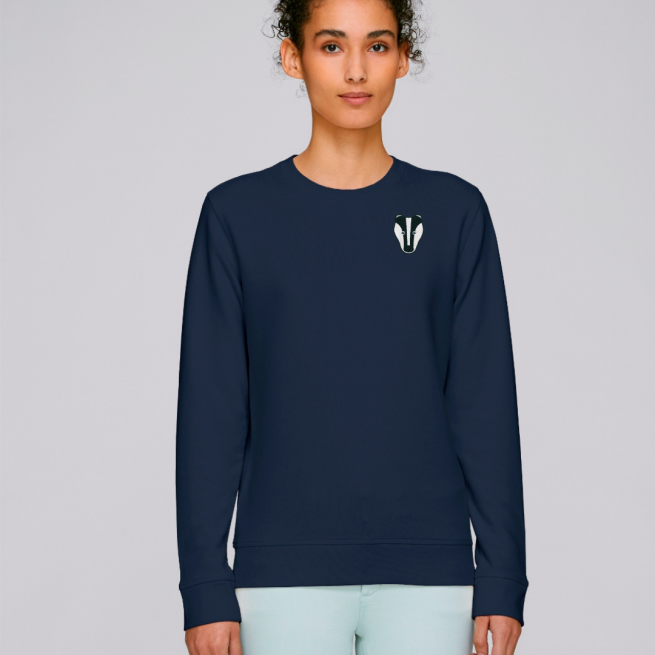 tommy and lottie adults organic cotton badger sweatshirt - navy