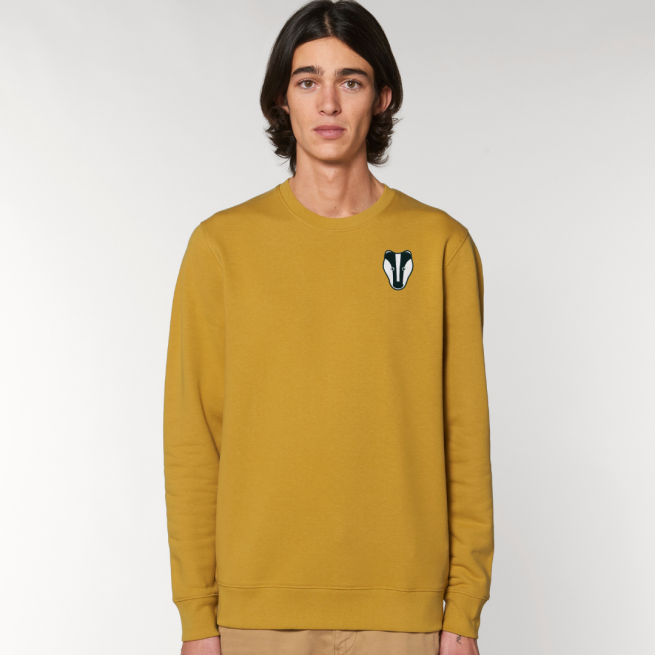 tommy and lottie adults organic cotton badger sweatshirt - ochre
