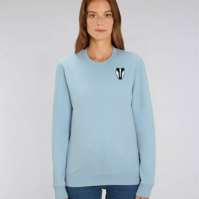 tommy and lottie adults organic cotton badger sweatshirt - pale blue