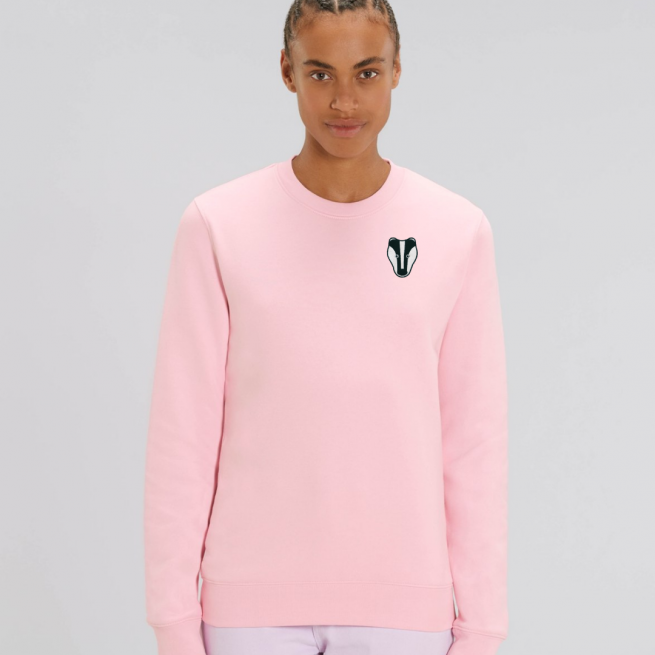 tommy and lottie adults organic cotton badger sweatshirt - pale pink