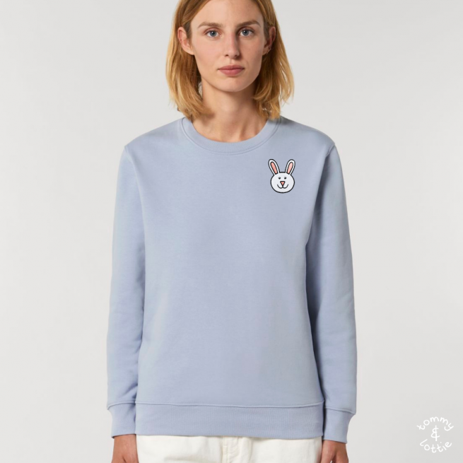 tommy and lottie adults organic cotton bunny sweatshirt - serene blue