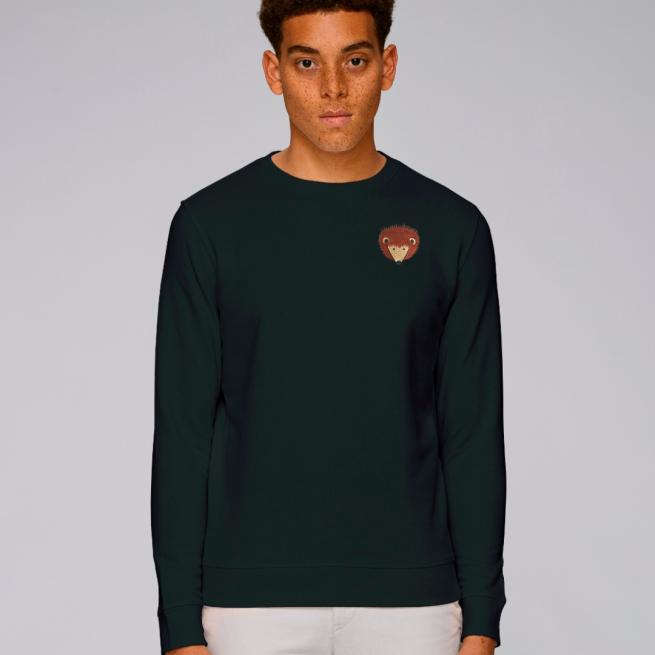 tommy and lottie adults organic cotton hedgehog sweatshirt - black