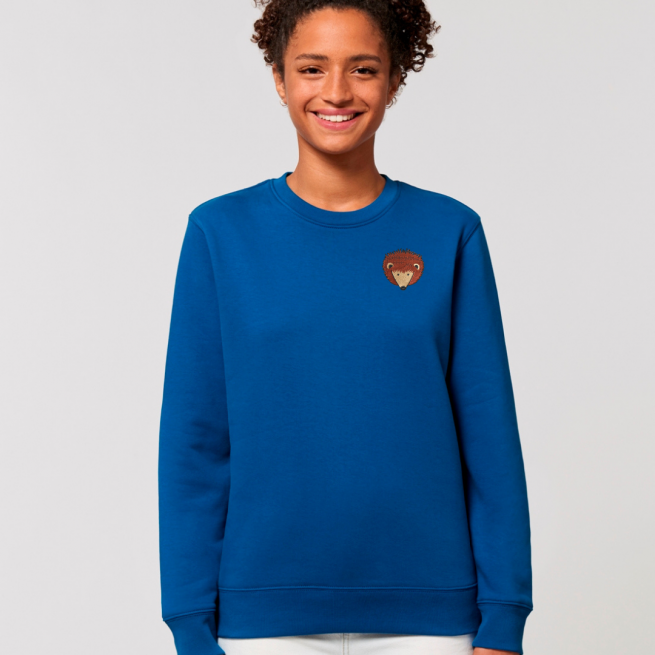 tommy and lottie adults organic cotton hedgehog sweatshirt - blue