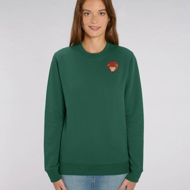 tommy and lottie adults organic cotton hedgehog sweatshirt - bottle green