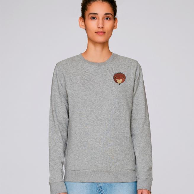 tommy and lottie adults organic cotton hedgehog sweatshirt - grey marl