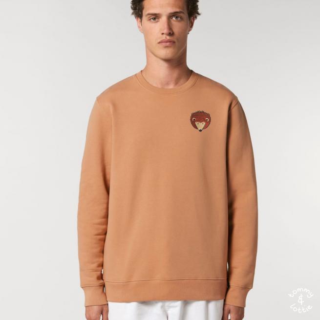 tommy and lottie adults organic cotton hedgehog sweatshirt - mushroom