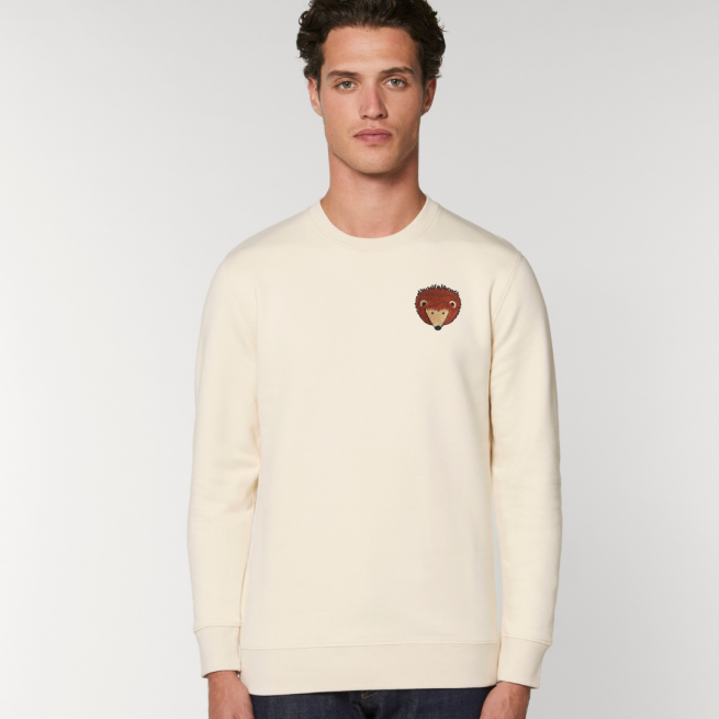 tommy and lottie adults organic cotton hedgehog sweatshirt - natural